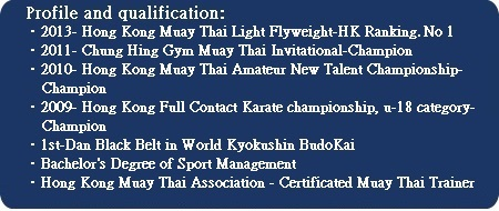 "Kickboxing Fitness                                 (""KBF"")-Tung profile and                                 qualification"